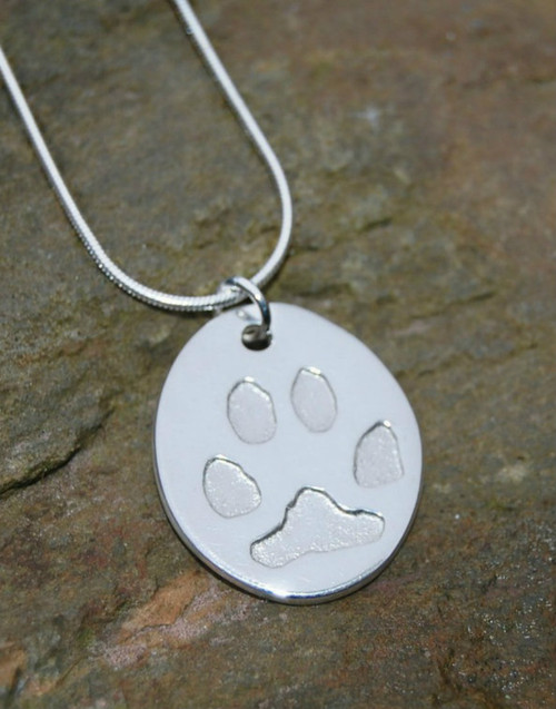 Sterling silver Oval paw print pendant with sterling silver chain