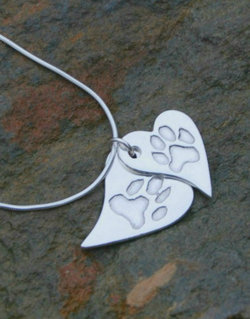 Fine silver wavy heart print pendants and sterling silver necklace chain