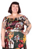 Every Body Kirbee Top Flower Ladies Blk