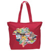 Inner West Map Tote Red.