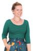 Sybil Top Midi Sleeve Grn Nvy Stripe