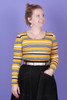 Bree Winter Top Mustard Allsort Stripe