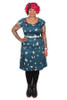 Thelma Dress Blue Banded Bees. - LUCKY LAST ONE LEFT - XL