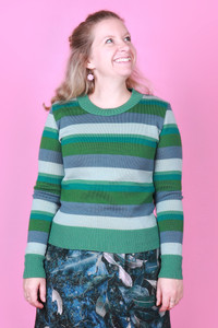 Jacqui Jumper Grassy Fields Stripe