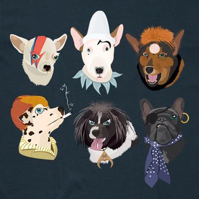 Bowie Dogs Indigo Mens T