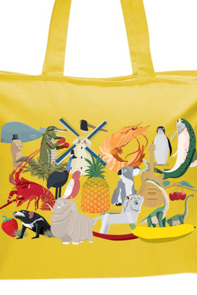 Big Aussie Road Trip Tote Yellow.