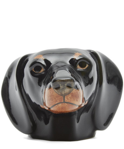 Dachshund Face Egg Cup Black Tan.