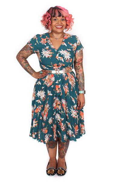 Saski Dress Native Posie Teal.