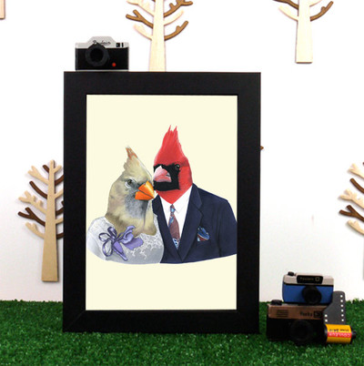 Ryan Berkley Mr & Mrs Cardinal Framed Print