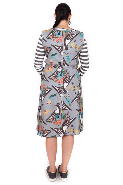 Demi Drawstring Dress Long Magpies