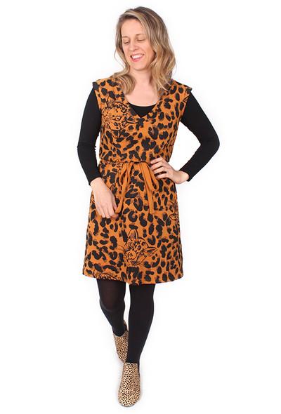 Demi Drawstring Dress Midi Leopards Rust.