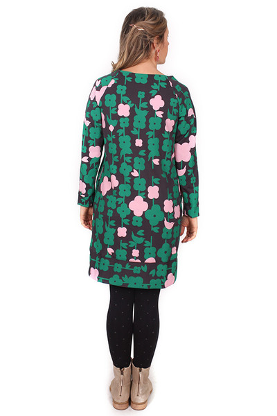 Sadie Dress Folk Floral Charcoal