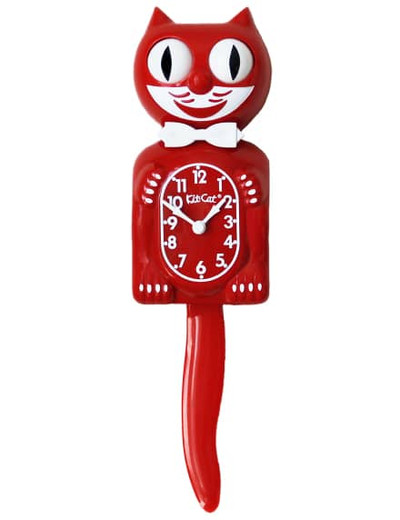 Kitty Cat Clock Scarlet