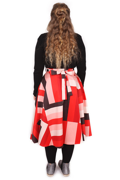 EB Valentina Skirt Midi Sticky Stripe Red