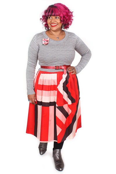 EB Patsy Skirt Long Sticky Stripe Red