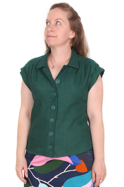 Every Body Trixie Shirt Green Linen