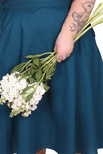 Every Body Valentina Skirt Midi Teal Linen.