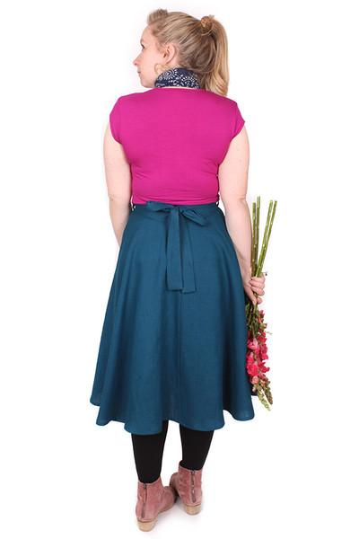 Every Body Valentina Skirt Midi Teal Linen