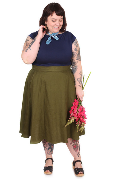 Every Body Valentina Skirt Midi Moss Linen.