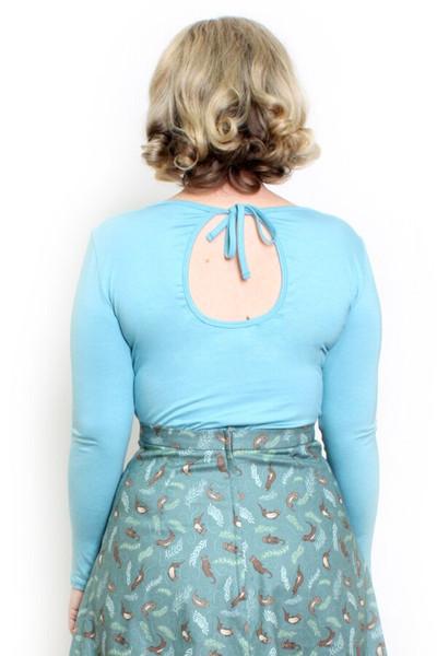 Keyhole Top Long Sleeve Milky Blue