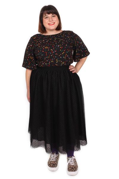 Every Body Party Lights Skirt Black Flocked Spot