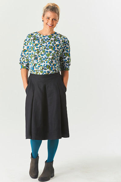 Vicky Top Winter Flwrs Blue