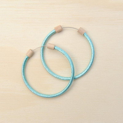 Hoop Earring Metallic Aqua