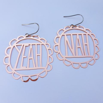 YEAH NAH in rose gold dangles