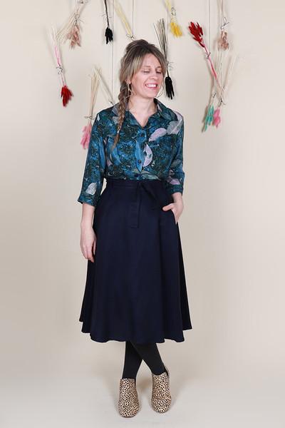 Valentina Skirt Midi Ink