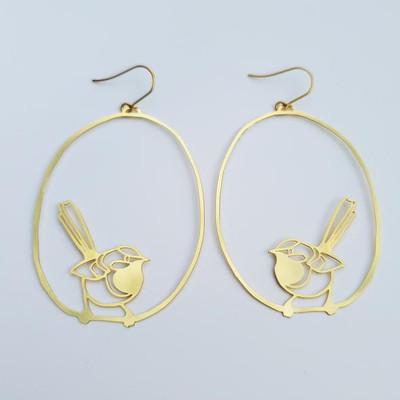 Fairy Wren Dangles in Gold