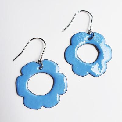 Enamel Flower Dangles in Blue