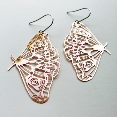 Moth Dangles in Rose Gold