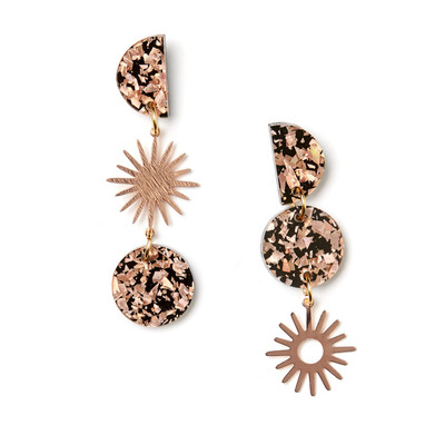 Sun Moon Earrings Rose Gold