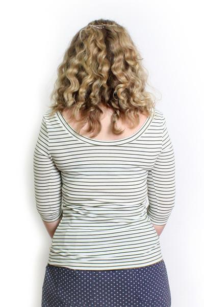 Every Day Sybil Reversible  Top Midi Sleeve - Green Stripe
