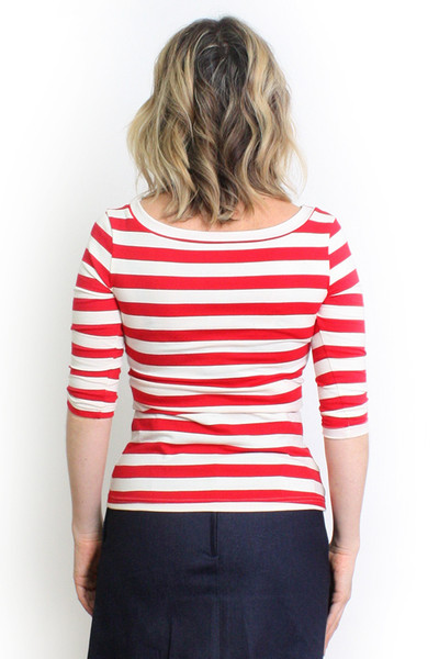 Every Day Sybil Reversible Top Midi Sleeve - Red Stripe