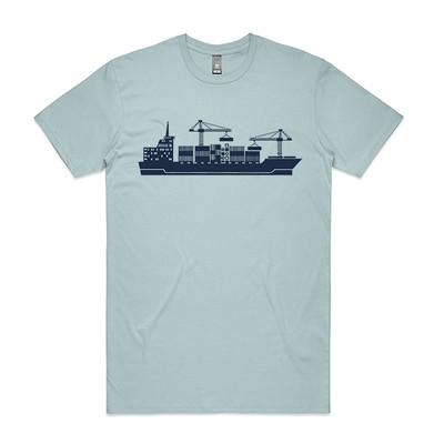 Cargo Ship Pale Blue Mens T.