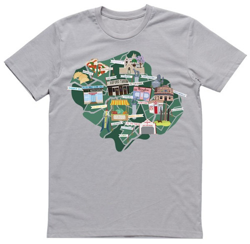 Inner West Map Silver Mens T
