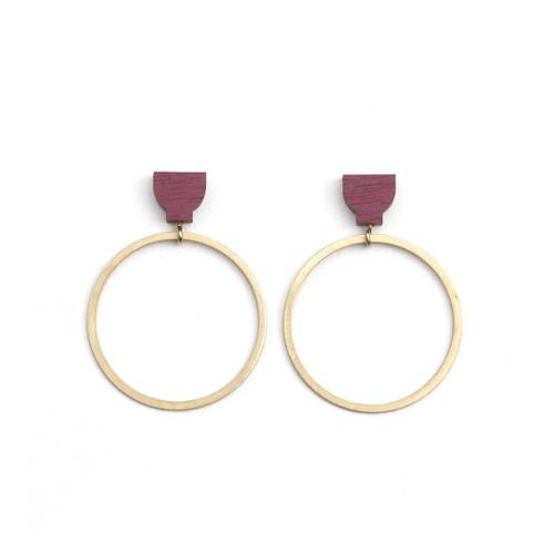 Hoop Earrings Burgundy