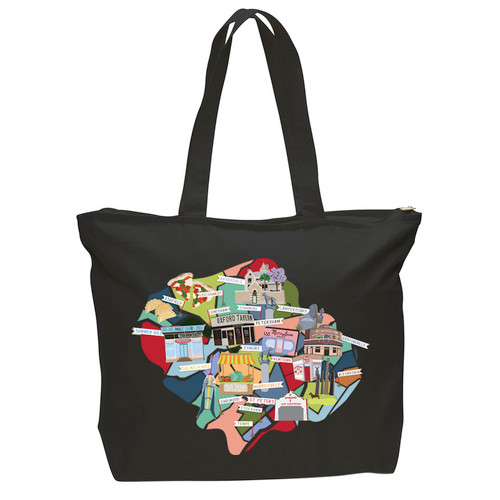 Inner West Map Tote Black.