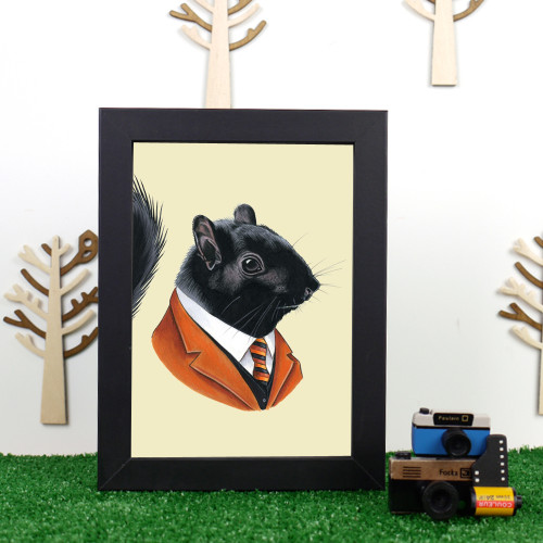 Ryan Berkley Black Squirrel Framed Print