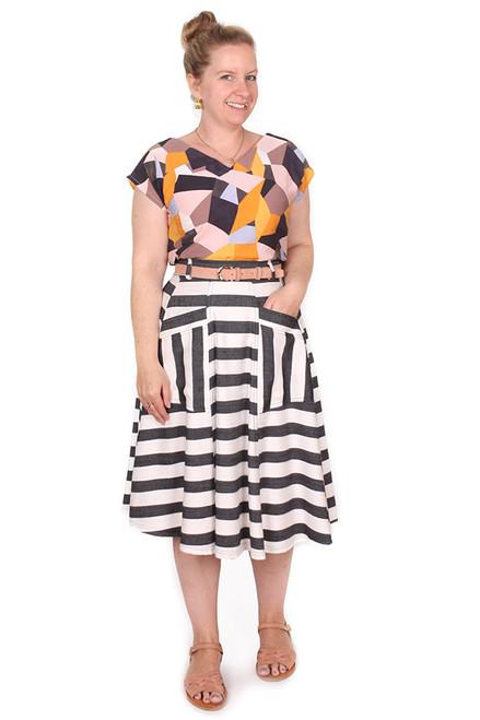 Paige Skirt Beetlejuice Stripe