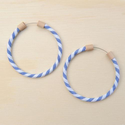 Hoop Earring Denim Stripe