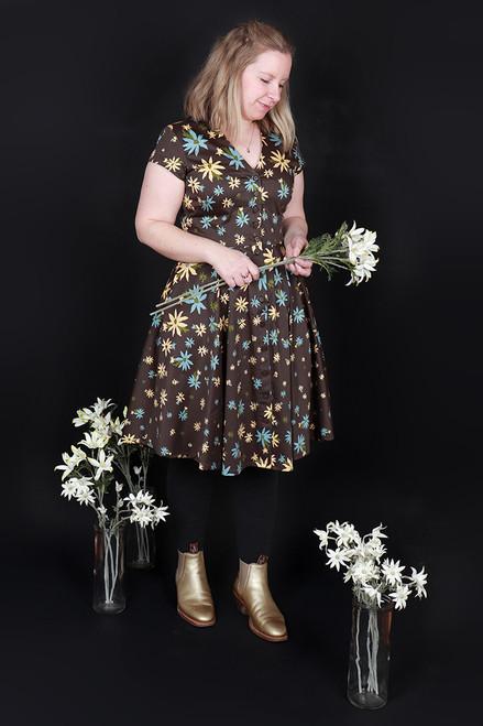 Saski Dress Flannel Flowers