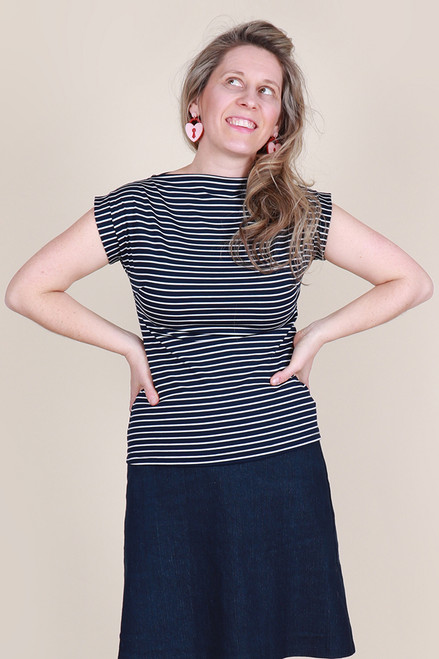 Rizzo Top Nautical Stripe Navy