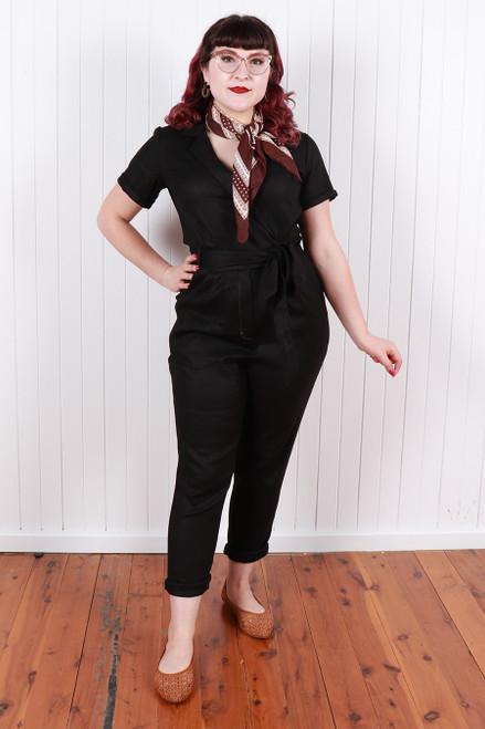 Maisie MADEsuit Black Linen