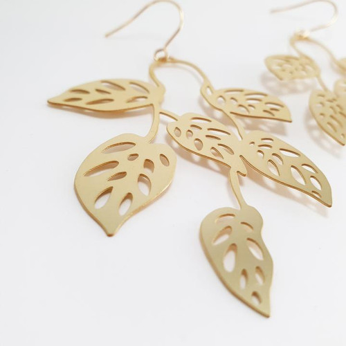 Swiss Cheese Dangles in Gold