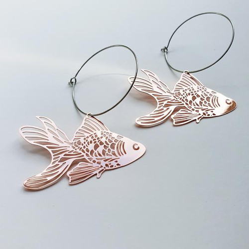 Goldfish Hoops in Rose Gold