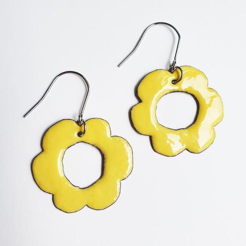 Enamel Flower Dangles in Yellow