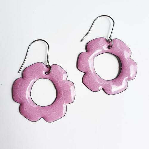 Enamel Flower Dangles in Pink