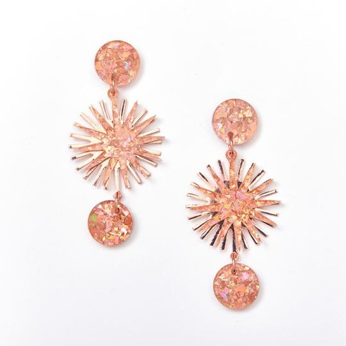 Star Burst Earrings Pink and Rose Gold